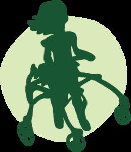 A hand drawn illustration of a Harper in her walker.