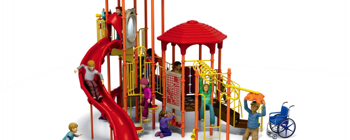 A play structure with a wheel-chair added as an after thought.