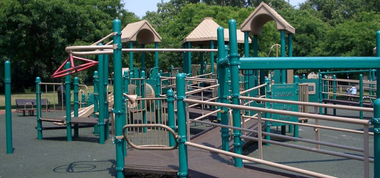 An accessible playground with maze like ramps.